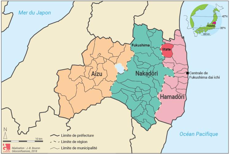 Carte localisation Iitate et Fukushima Japon régions et préfectures