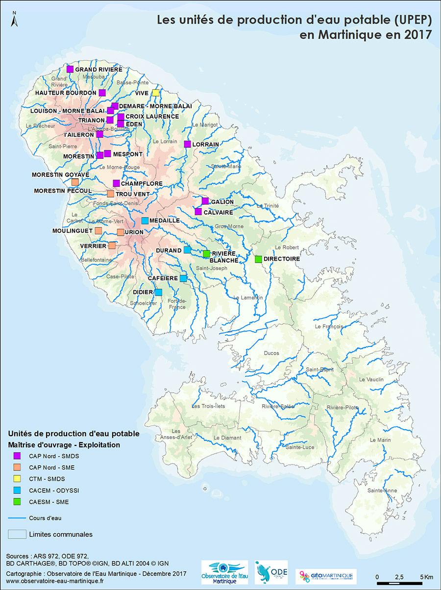 Carte usines de production d'eau potable en Martinique