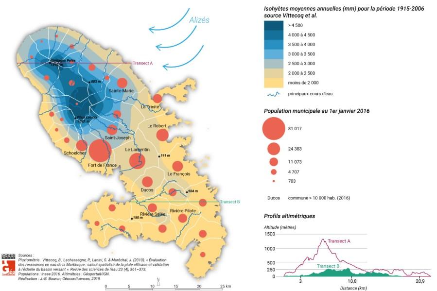 Martinique carte précipitations population communale alizés relief