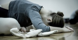 Ballet student stretching