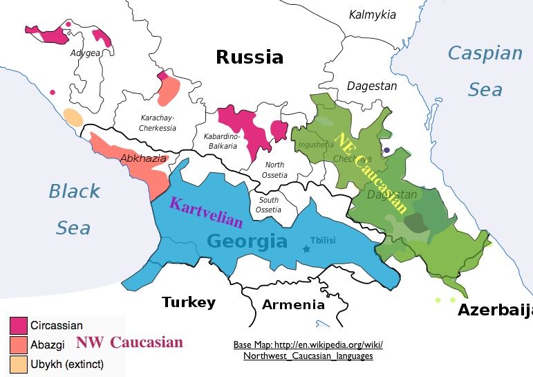 Map of the Caucasian Language Families