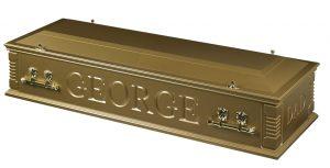 Casket split lid gold open