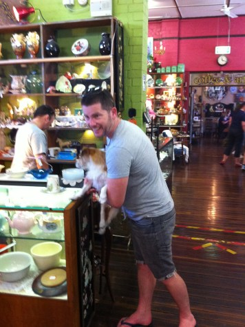 Geoffy shopping for antiques