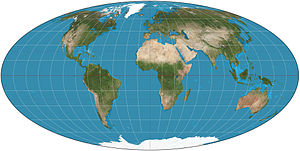 World map Mollweide projection