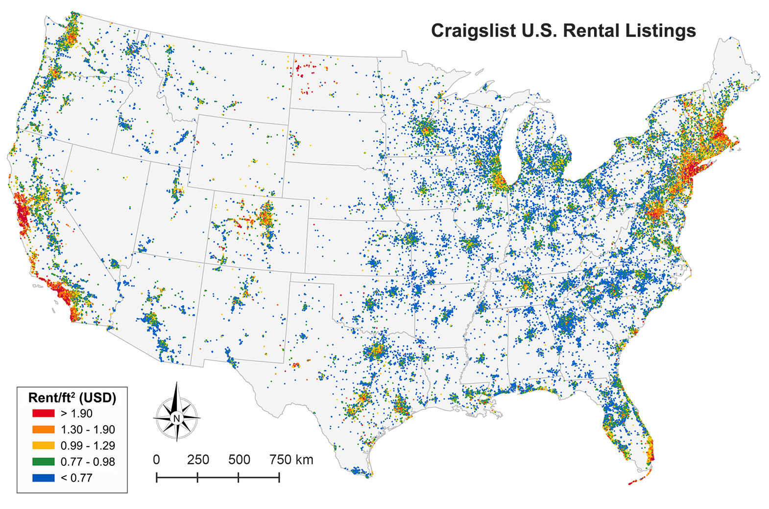 Map Of 1 5 Million Craigslist Rental Listings In The Contiguous Us Divided Into Rent Ft2 Quintiles Summer 2014