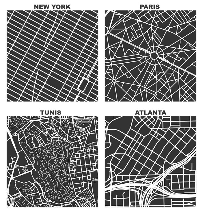 OSMnx: Figure-ground diagrams of one square mile of Manhattan New York, Paris France, Tunis Tunisia, and Atlanta Georgia shows the street network, urban form, and urban design in these cities with Python in the style of Allan Jacobs Great Streets and Nolli maps