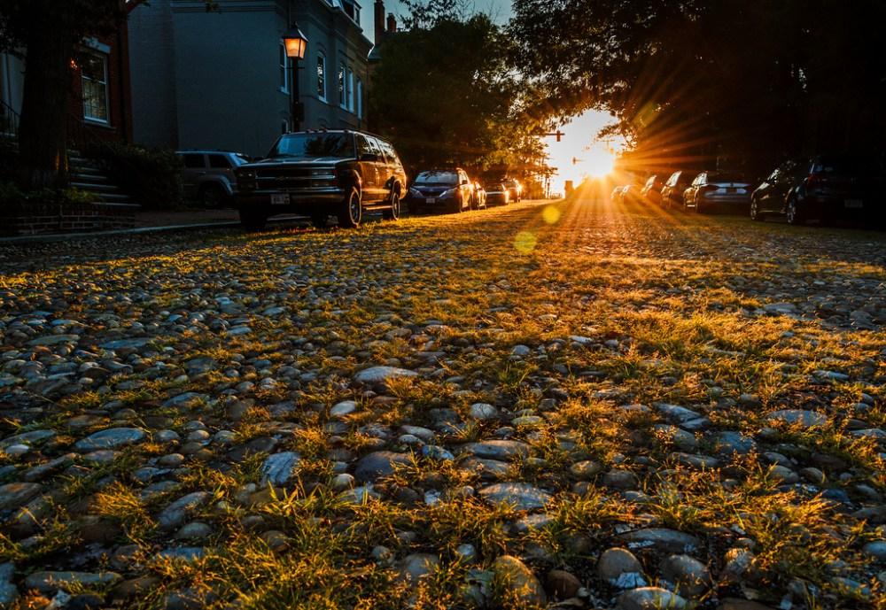 Cobblestone paved Princess Street in Alexandria, VA.