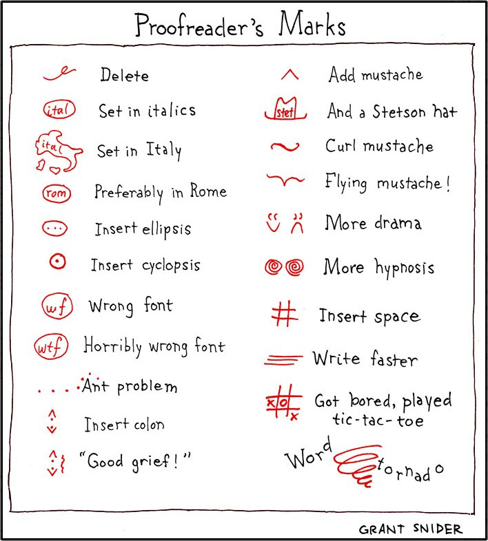 Proofreader's Marks by Grant Snider