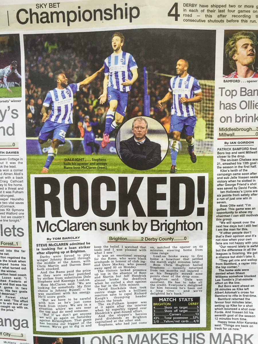 Published in The Sun, Wed 4th March 2015.