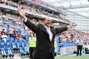 Peter Ward is welcomed by the Amex crowd