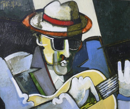 guitarist with shaft of light, oil 2013