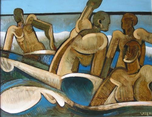 bathers, oil 1982
