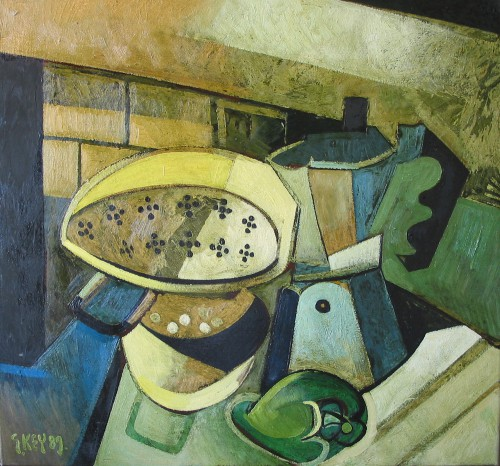 coffee pot and colander, oil 1989