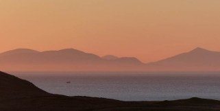 Sunset sky and Harris hills