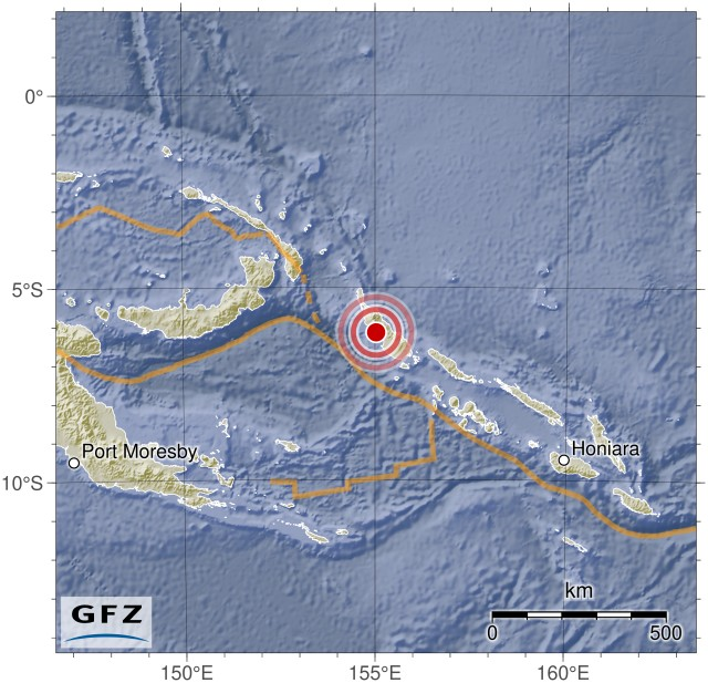 Event Map M 7.9 - 41km WNW of near Panguna, Bougainville, Papua New Guinea