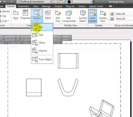 Vista proyectada y sección de corte con AutoCAD 2013