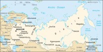 Map showing the location of Norilsk in Northern Russia