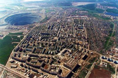 Large nickle mine located on the edge of Norilsk