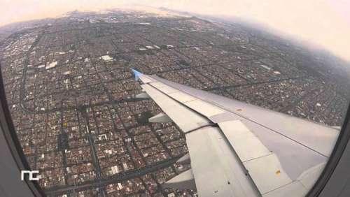 La ciudad de México vista desde un avión.