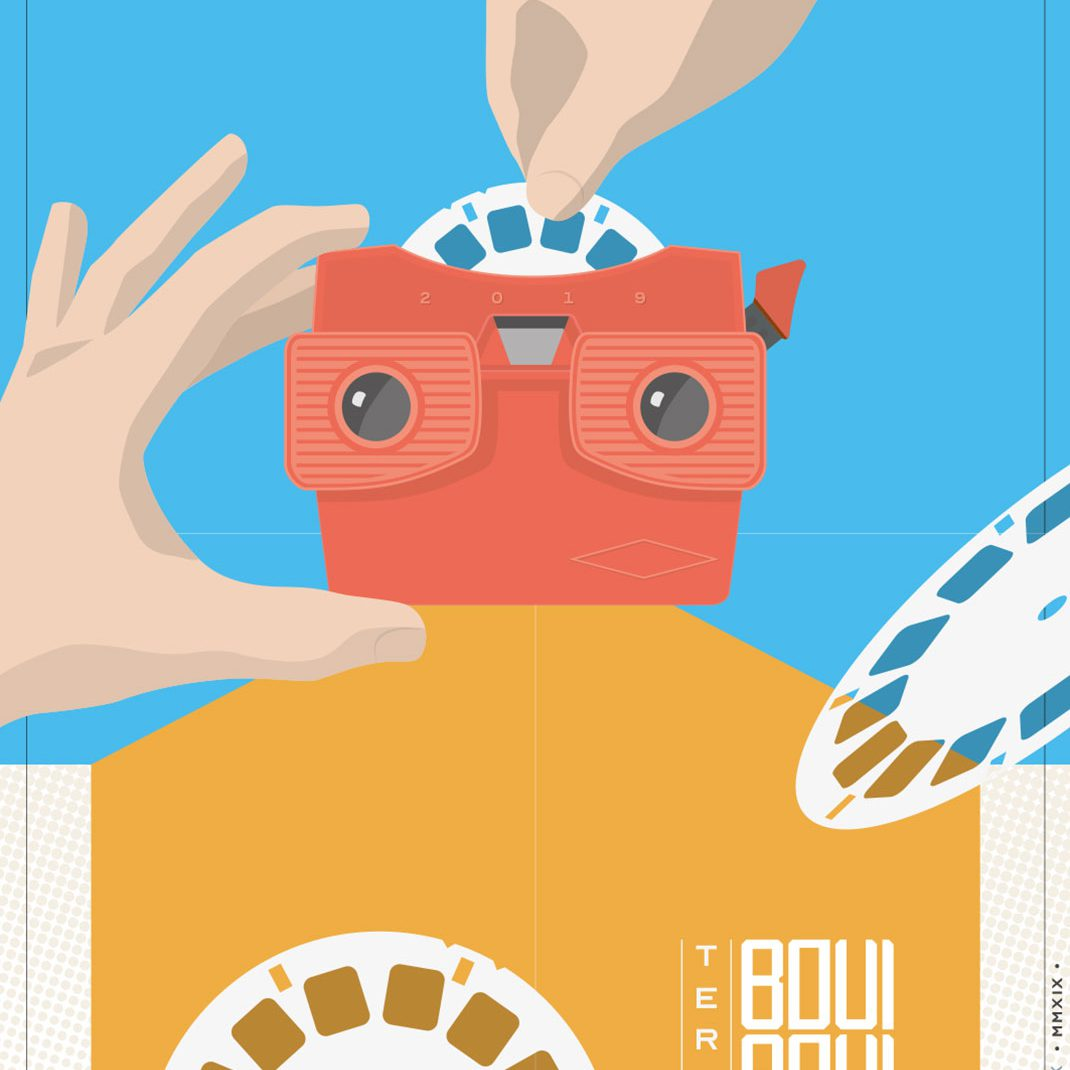 Viewmaster, Vectordesign, illustrated Schedule, Folder, Flyer, 0049events, Frontside, Düsseldorf, Boui Boui Bilk,