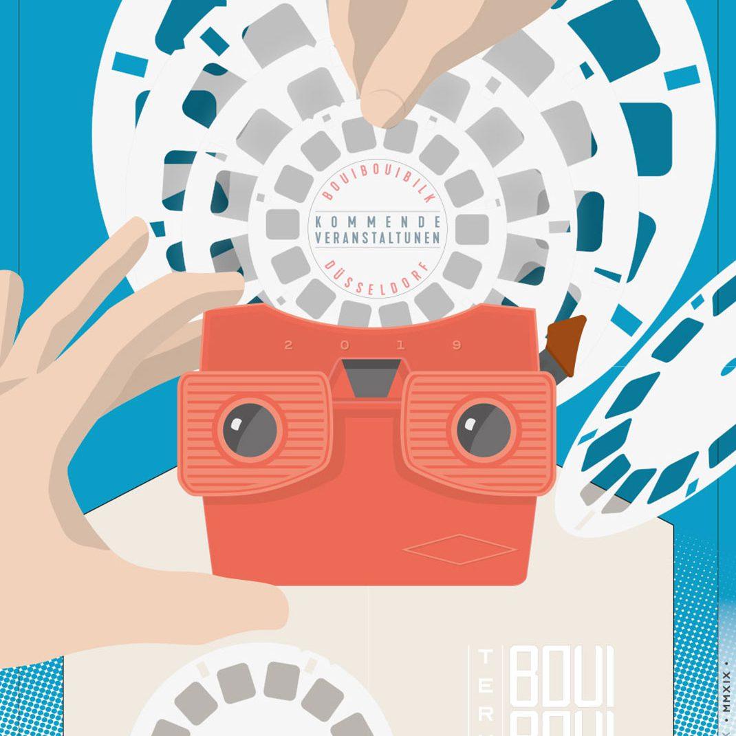 Viewmaster, Hands, discs, Vectordesign, illustrated Schedule, Folder, Flyer, 0049events, Düsseldorf, Germany, BouiBouiBilk,