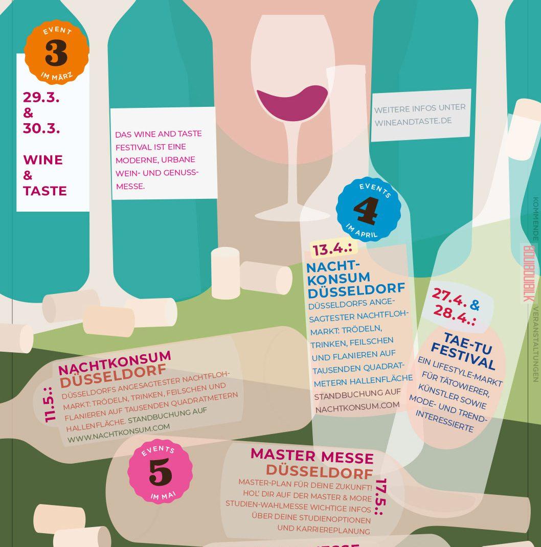 Wine and Taste, hand, bottles, Vectordesign, illustrated Schedule, Backside, Flyer, Düsseldorf, Germany, BouiBouiBilk,