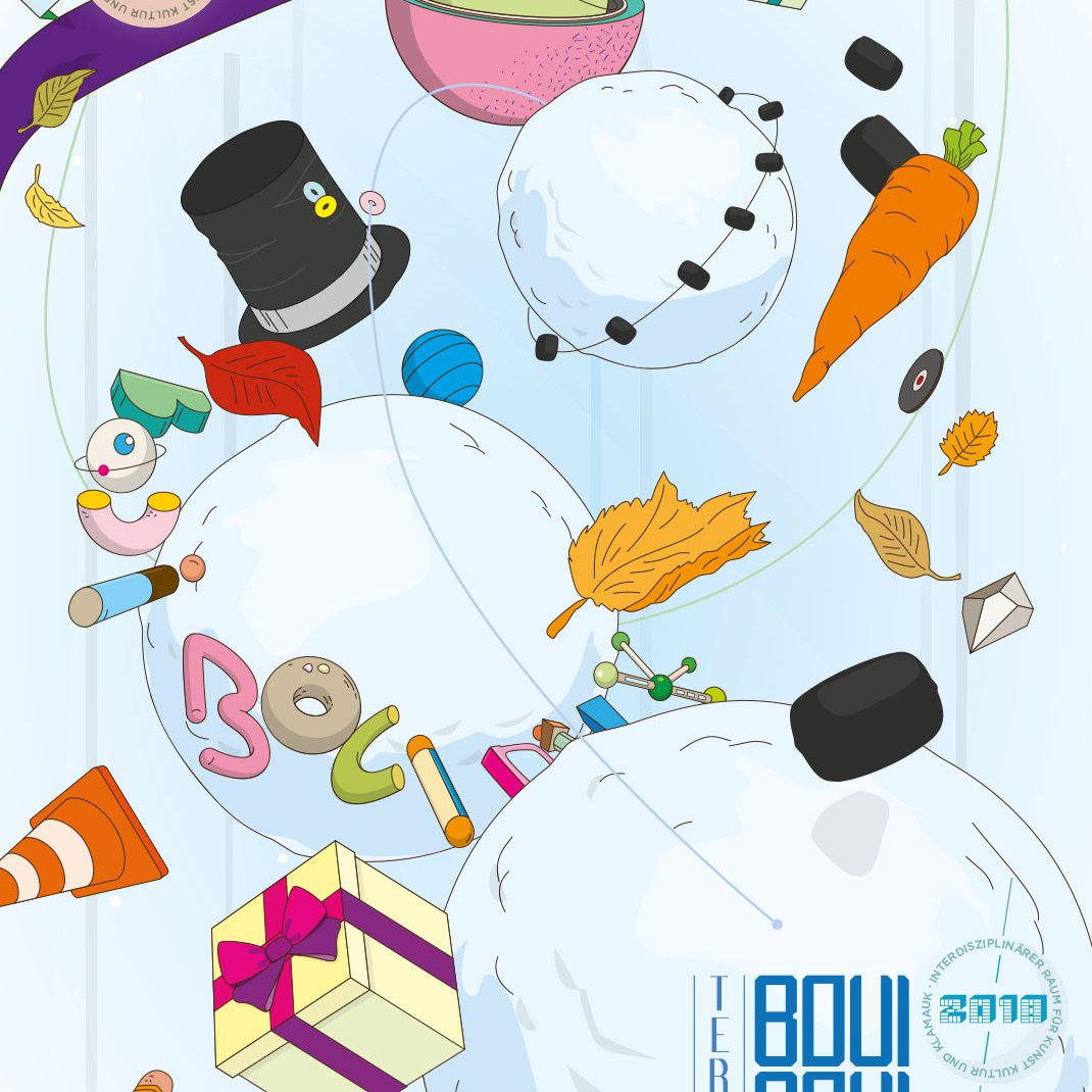 Planets, snowballs, illustrated, vectordesign, folder, event schedule, winter 2018, BouiBouiBilk,,