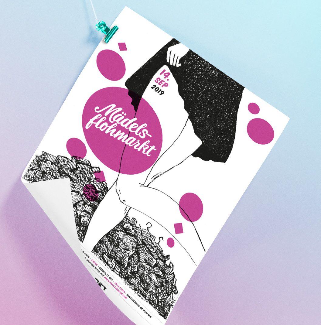 """Illustrated Eventposter for """"Mädelsflohmarkt"""", Girls Fleamarket,"""