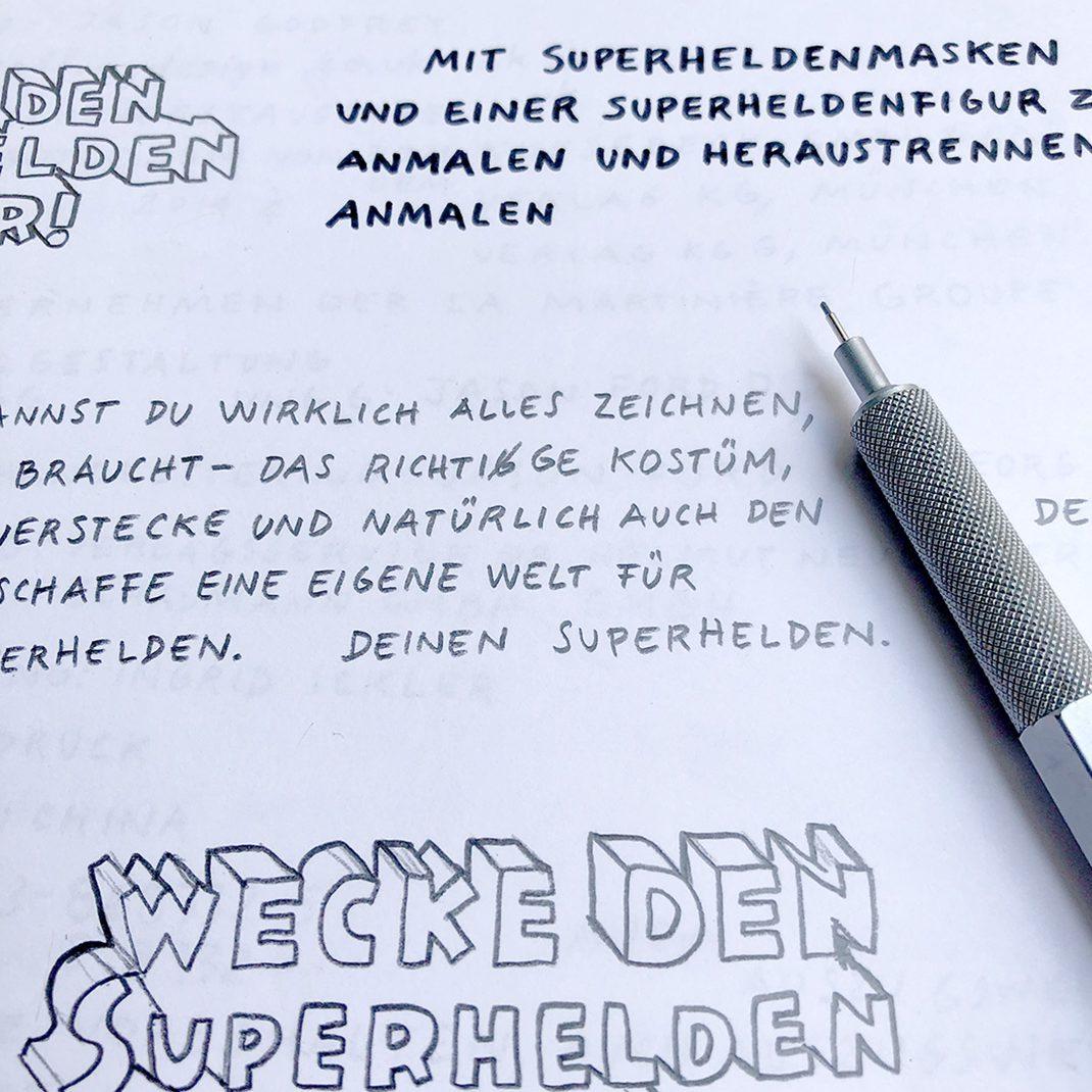 pen and paper, handlettering, superbook, superheroes,