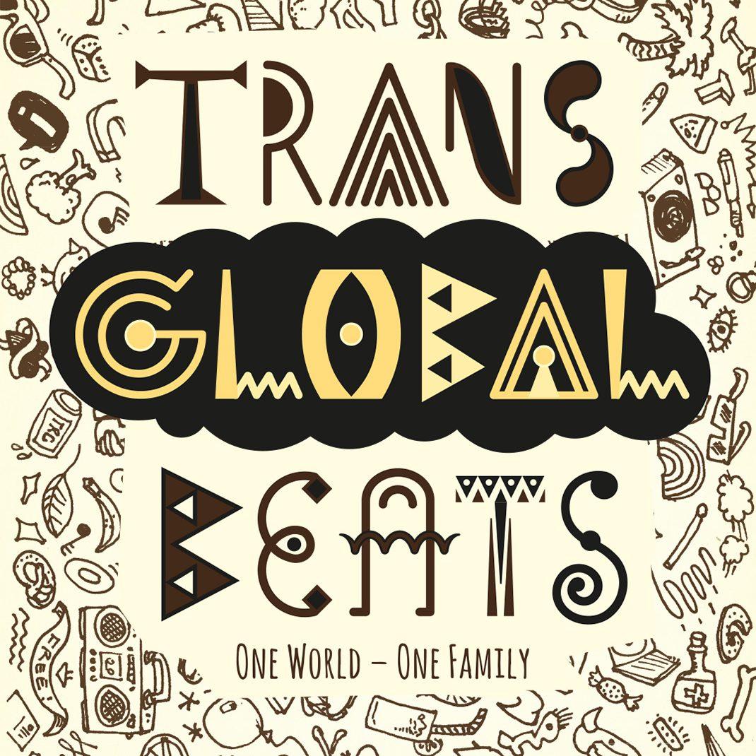 Schriftmarke Transglobalbeats, zweifarbig,