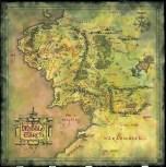 Une carte inspirée de celle de Tolkien, refaite plutôt selon les critères esthétiques des jeux vidéo, réalisée par l'artiste Daniel Reeve pour le compte de Peter Jackson et de la Warner, pour les films et les produits dérivés