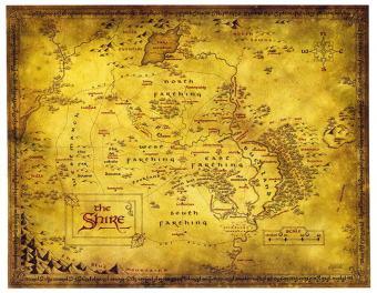 La Comté (the Shire), lieu d'origine des Hobbits, dessinée par Daniel Reeve
