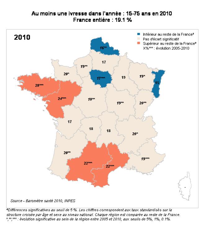 Au moins une ivresse dans l'année (pourcentage parmi les 15-75 ans) Frane (moyenne) : 19  - Exemple : BRETAGNE : 28 / ALSACE : 15