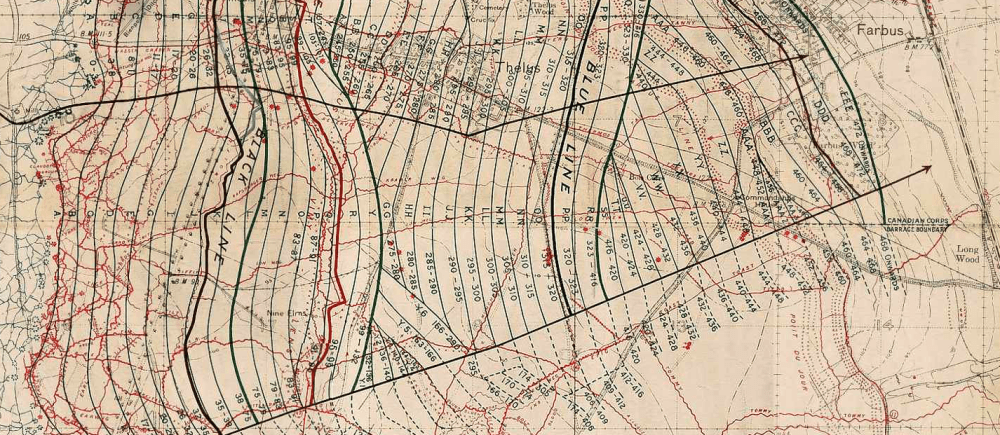 medium resolution of vimy barrage map 1917 extract