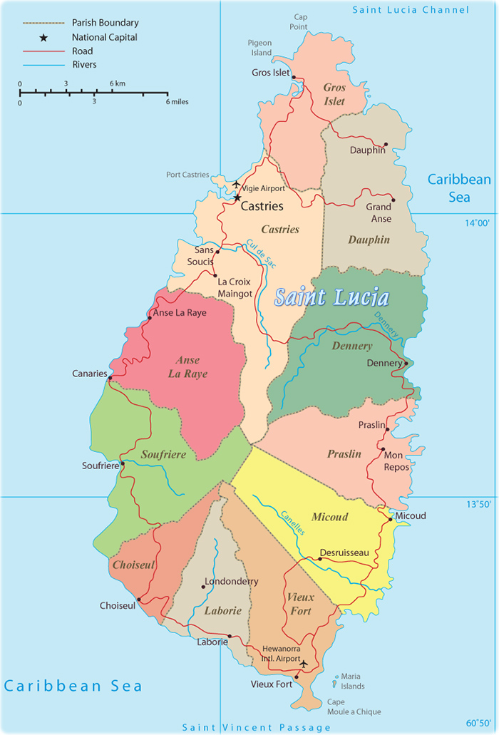 Where Is St Lucia Located On A Map : where, lucia, located, Political, Saint, Lucia,, Castries,, Soufriere