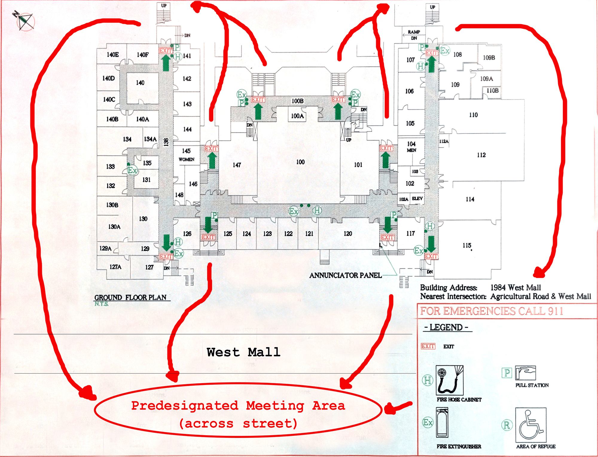 hight resolution of floor plans emergency exits and life safety systems department of rh geog ubc ca fire door sc 1 st wiring diagrams