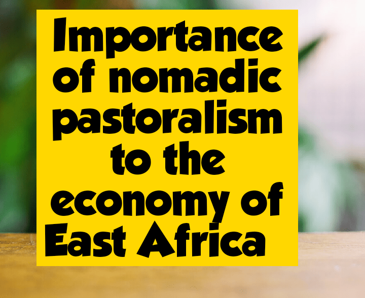Importance of nomadic pastoralism to the economy of East africa