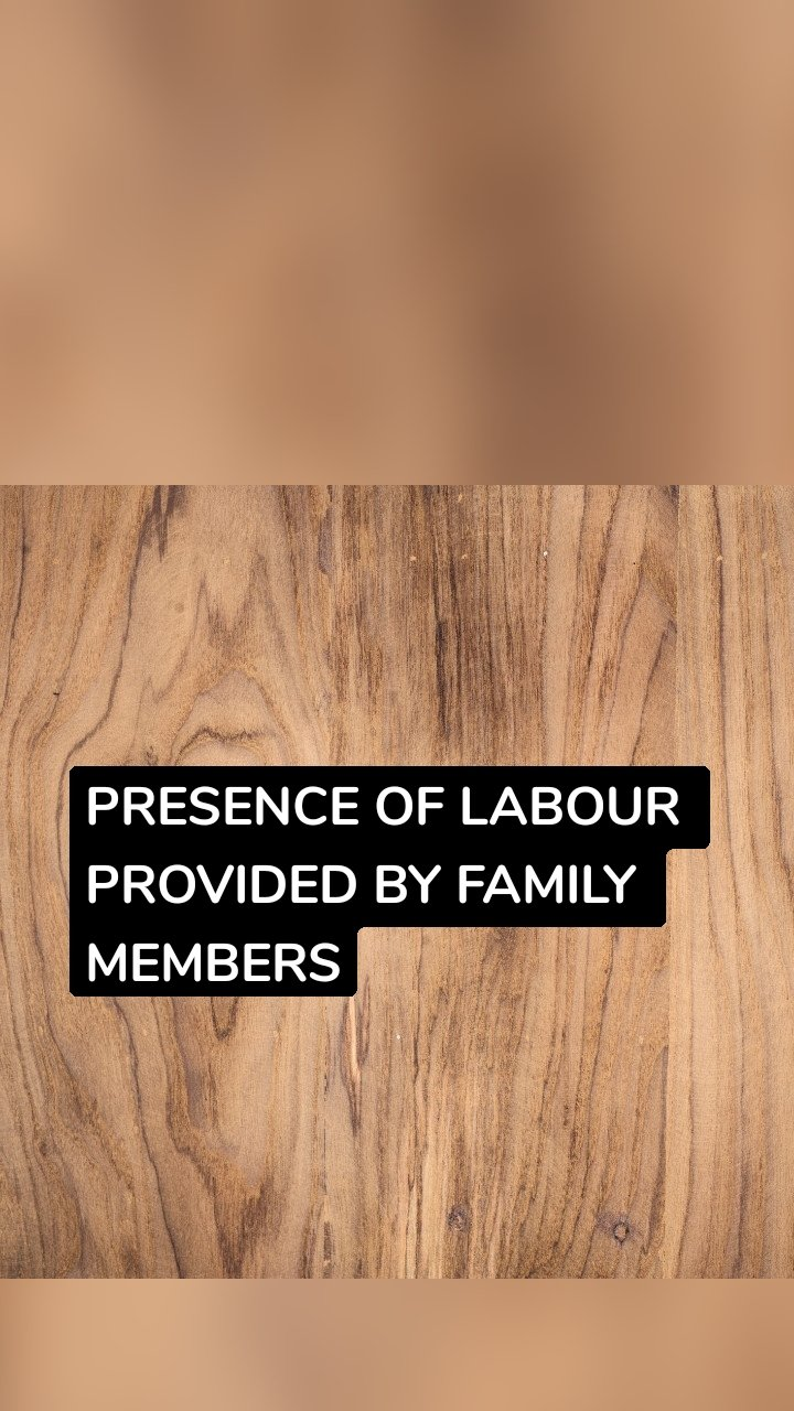 PRESENCE OF LABOUR PROVIDED BY FAMILY MEMBERS
