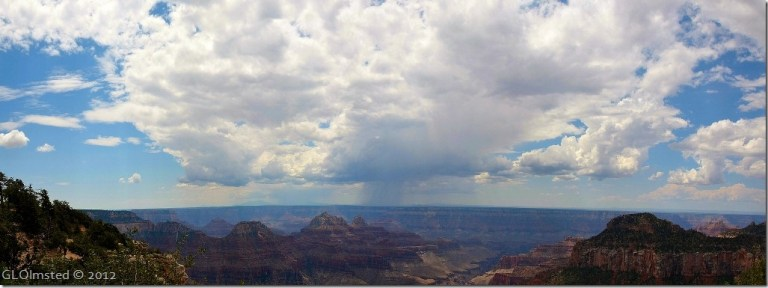 Stormy clouds over canyon from Grand Lodge North Rim Grand Canyon National Park Arizona
