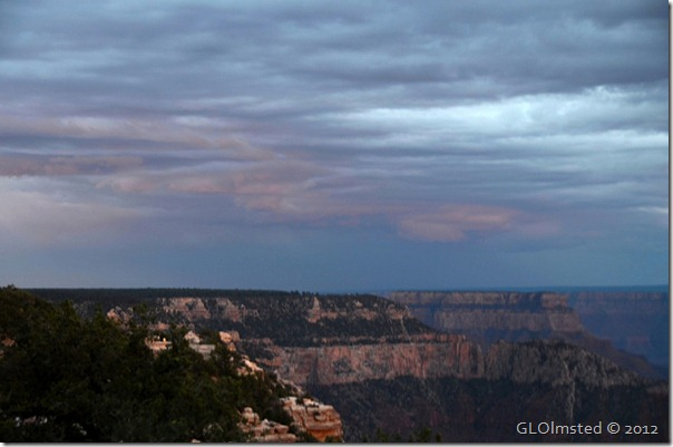 Sunset & storm clouds over canyon North Rim Grand Canyon National Park Arizona