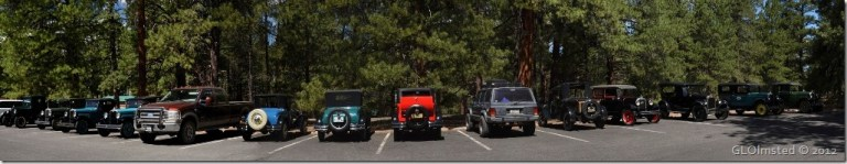 Gaelyn's truck & a jeep with vintage Chevrolets North Rim Grand Canyon National Park Arizona