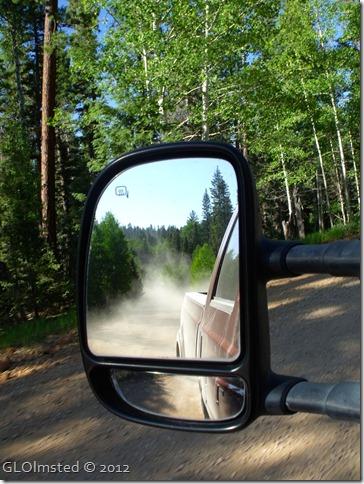 05 Dusty road in side mirror FR 22 Kaibab NF AZ