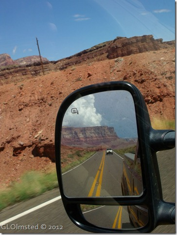 08 Clouds over Vermilion Cliffs in side mirror from SR89A E AZ