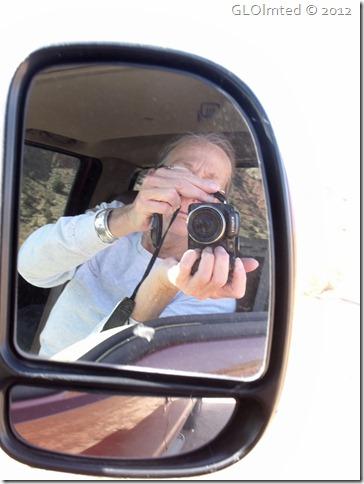09 Gaelyn in side mirror GRSE NM House Rock Valley Rd UT