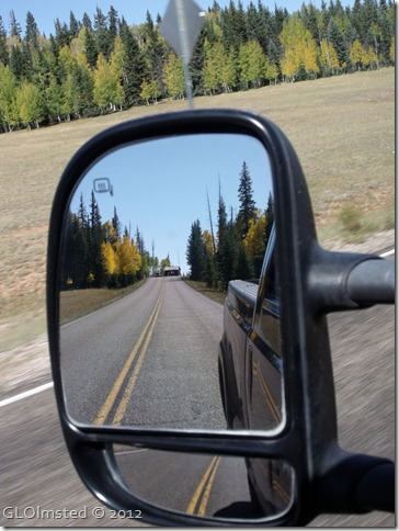 10 Fall colors & entrance station in side mirror SR67 N Kaibab NF AZ