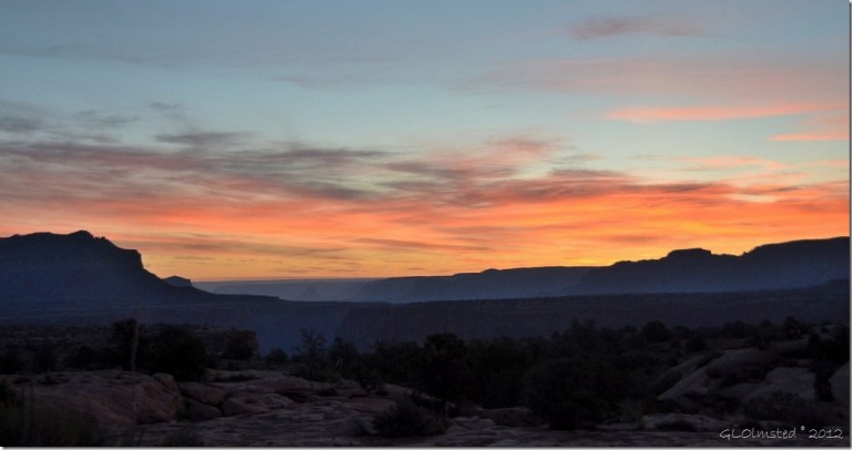 Sunrise from camp Toroweap Grand Canyon National Park