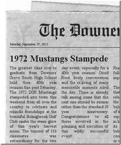 06 Bob Becker's fake newspaper article 1972 Mustangs stampeed