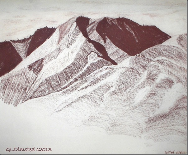 Conte drawing of mountains Wenatchee WA