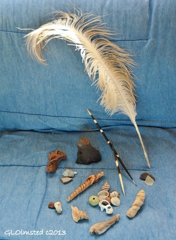 Gifts from the Earth, shells, rocks, sea glass, drift wood, quils, feather