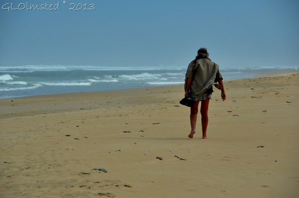 Person on Bushmans River Mouth beach SA